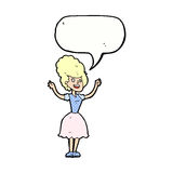 lycklig 50-talkvinna för tecknad film med anförandebubblan Royaltyfri Foto