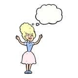 lycklig 50-talkvinna för tecknad film med tankebubblan Arkivfoto