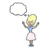 lycklig 50-talkvinna för tecknad film med tankebubblan Royaltyfri Bild