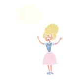 lycklig 50-talkvinna för tecknad film med tankebubblan Arkivbilder