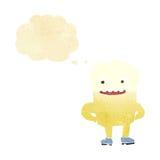 lycklig tand för tecknad film med tankebubblan Arkivfoto