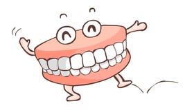 Lycklig tandprotesdansshow Arkivfoto