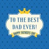 Lycklig tappning för dag för fader` som s är typografisk med kronan och ramen royaltyfri illustrationer