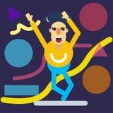 Lycklig teckendans stock illustrationer