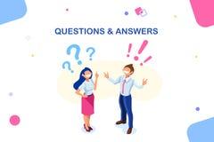 Lycklig teckenpresentation för frågor och för svar vektor illustrationer