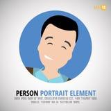 Lycklig teckenstående - personprofilbild Royaltyfri Illustrationer
