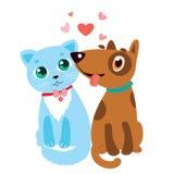 Lycklig tecknad film Cat And Dog Friendship Vector Royaltyfri Foto
