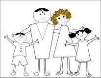 lycklig tecknad filmfamilj Arkivbild
