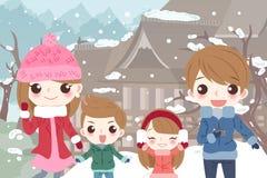 lycklig tecknad filmfamilj Royaltyfri Fotografi