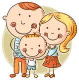 Lycklig tecknad filmfamilj med ett barn stock illustrationer