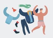 Lycklig tecknad filmman som av tar arbetskläder som kör med glädje vektor illustrationer
