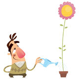 Lycklig tecknad filmmanträdgårdsmästare som bevattnar blomman, att växa snabbt Royaltyfri Foto