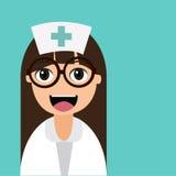 Lycklig tecknad filmsjuksköterska Royaltyfria Foton
