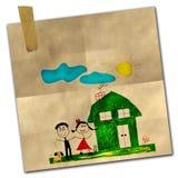 lycklig teckningsfamilj