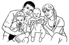 lycklig teckningsfamilj Royaltyfria Foton
