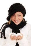 Lycklig teen flicka med snow Royaltyfri Bild