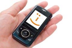 lycklig telefon Arkivfoto