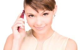 lycklig telefonkvinna för cell Royaltyfri Fotografi