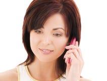 lycklig telefonkvinna för cell Royaltyfri Bild