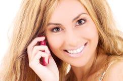 lycklig telefonkvinna för cell Arkivfoto