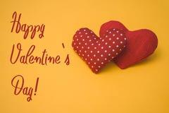Lycklig text för dag för valentin` s Royaltyfri Fotografi
