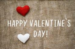 Lycklig text för dag för valentin` s på kanfas Arkivfoton