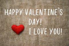 Lycklig text för dagen för valentin` s, älskar jag dig Arkivfoton