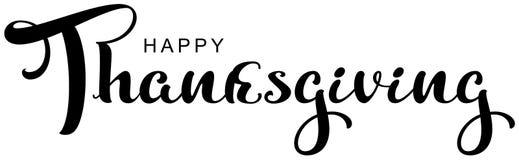 Lycklig text för tacksägelsekalligrafibokstäver för hälsningkort stock illustrationer