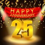 Lycklig 25th årsdagberöm med guld- konfettier och strålkastaren stock illustrationer