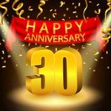 Lycklig 30th årsdagberöm med guld- konfettier och strålkastaren stock illustrationer