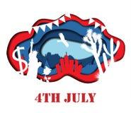 Lycklig 4th av den Juli 3D abstrakt begreppillustrationen Arkivfoton