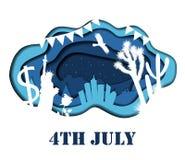 Lycklig 4th av den Juli 3D abstrakt begreppillustrationen Royaltyfri Foto