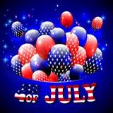 Lycklig 4th av den Juli designen Blå bakgrund, baloons med stjärnor, randig text Arkivfoton