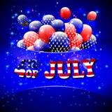 Lycklig 4th av den Juli designen Blå bakgrund, baloons med stjärnor, randig text Fotografering för Bildbyråer