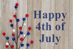 Lycklig 4th av den Juli hälsningen Fotografering för Bildbyråer