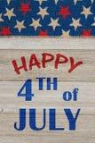 Lycklig 4th av den Juli hälsningen Royaltyfri Foto