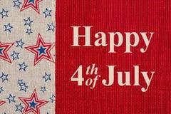 Lycklig 4th av den Juli hälsningen Royaltyfri Bild