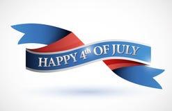 Lycklig 4th av det juli banret. illustration Arkivfoton