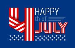 Lycklig 4th av det Juli hälsningkortet för USA självständighetsdagen också vektor för coreldrawillustration Royaltyfri Bild