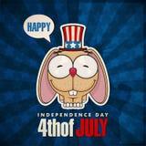 Lycklig 4th av det Juli kortet med tecknad filmkanin. Royaltyfri Fotografi