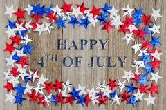 Lycklig 4th av det Juli meddelandet Arkivbild