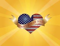 Lycklig 4th av Juli hjärta med snirkeln och solen Rays stock illustrationer