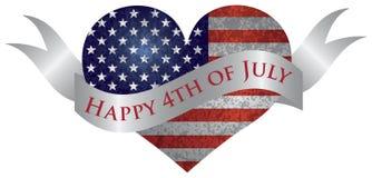 Lycklig 4th av Juli hjärta med snirkeln Arkivbild
