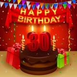 Lycklig 30th födelsedag med chokladpralinkakan och den triangulära flaggan Arkivfoto