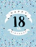 Lycklig 18th födelsedagillustration Delitace mycket små konfettier på ett ljus - blå bakgrund royaltyfri illustrationer