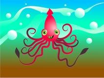 lycklig tioarmad bläckfisk Royaltyfri Foto