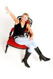 lycklig tonåring för stol fotografering för bildbyråer