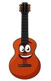 Lycklig träakustisk gitarr Arkivbild