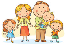 Lycklig trebarnsfamilj stock illustrationer
