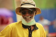 Lycklig Trishaw chaufför Fotografering för Bildbyråer